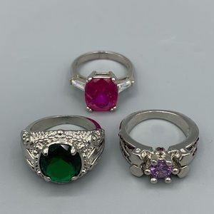 Lot of Sz 7 Silver Rings - Amethyst, Emerald, Pink